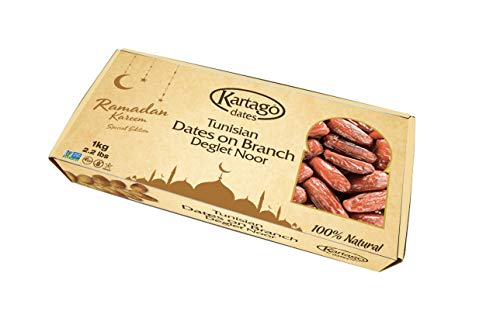 Tunisian Dates on Branch - All Natural Deglet Noor Date Branch Snack by Kartago - 2.2lbs