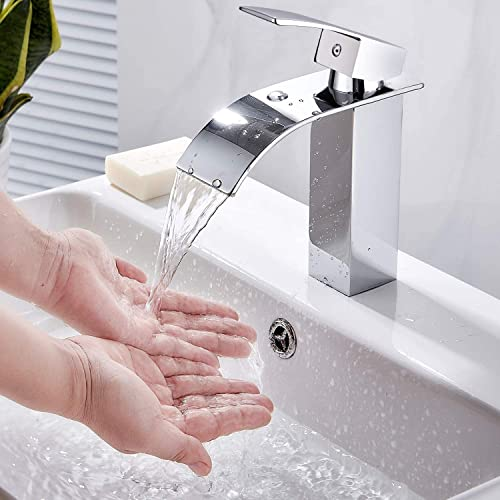Wasserhahn Bad, wasserfall Wasserhahn Badezimmer Waschbecken mit Geräuscharmem Keramischem Ventilkern, Einhandmischer Waschtischarmaturen, Heißes und Kaltes Wasser Vorhanden, Waschtischarmatur