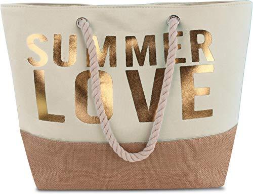 normani Strandtasche Schultertasche Handtasche Umhängetasche mit Sommer Design und großem Volumen Farbe Summer Love White/Gold