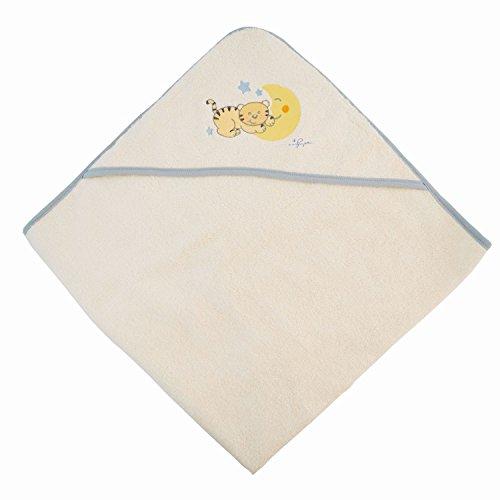 BIECO 44500000 - serviette à capuche bébé 100% coton en bordure beige, gris et chat motif Mia, 100 x 100 cm, de 0 mois