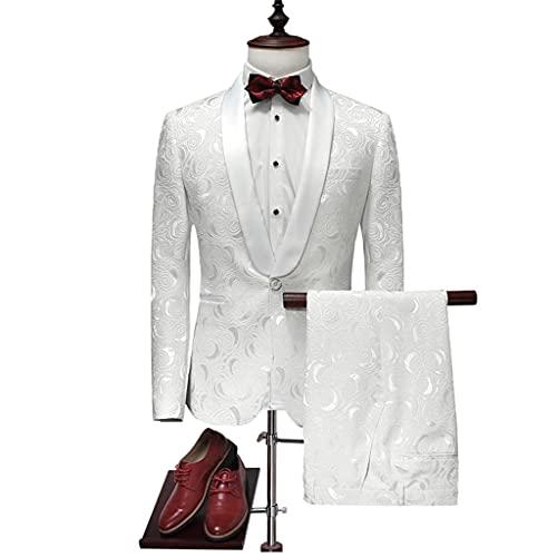 LEPSJGC メンズウェディングラペルプリントスリムバンケットブレザーパンツコート2点セットスーツジャケットパンツ (Color : White, Size : L code)