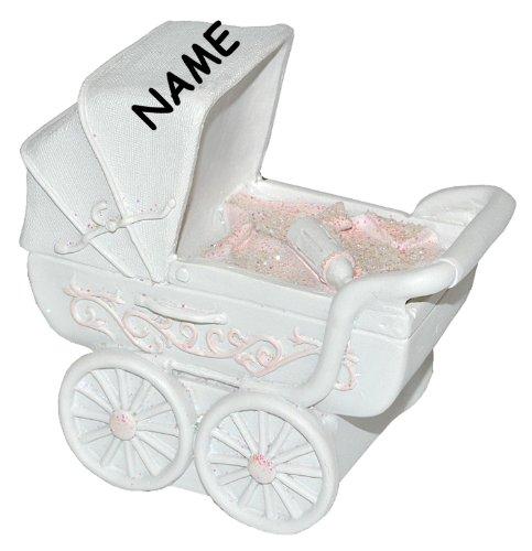 alles-meine.de GmbH Spardose Kinderwagen - rosa für Baby ´s Mädchen + Namen - stabile Sparbüchse aus Kunstharz - Geldgeschenk Baby zur Geburt Taufe Geld Sparschwein