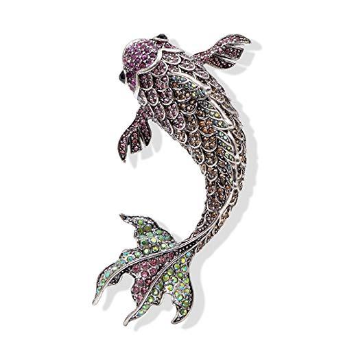 Owenqian Biżuteria damska, stras, duże broszki w kształcie ryby dla kobiet, żywe karpii, akcesoria Big Fashion Animal
