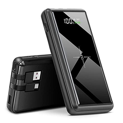 FANGZI Banco de energíaBanco de energía de 25000 mah, Banco de batería Externo, Cable USB Tipo C Integrado, Cargador inalámbrico Qi de Powerbank para Xiaomi 11 Poverbank