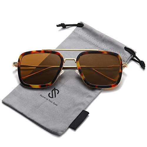 SOJOS Gafas de sol polarizadas para hombres y mujeres retro aviador cuadrado...