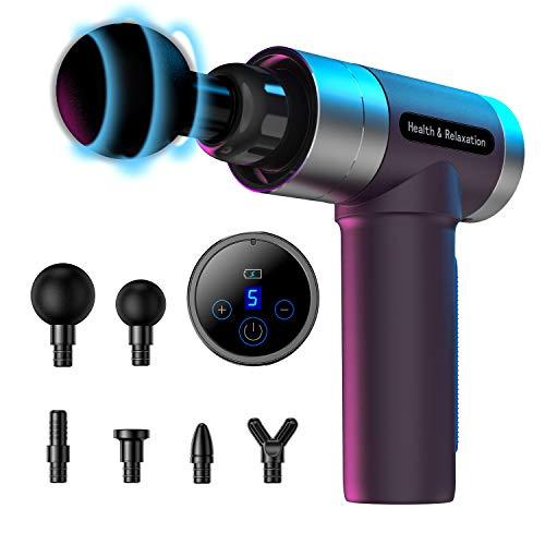 MILcea massagepistole, Tiefen massagegerät mit 5 Geschwindigkeiten, LED-Anzeige-Touchscreen Massage Gun, elektrisches Handmassagegerät mit 6 Massageköpfen für Nacken Schulter Rücken.