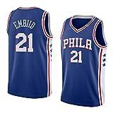 21#Embiid Sixers - Camiseta de baloncesto para hombre, ropa deportiva, traje de entrenamiento de pista de verano, camiseta sin mangas, camiseta deportiva (S-XXL)