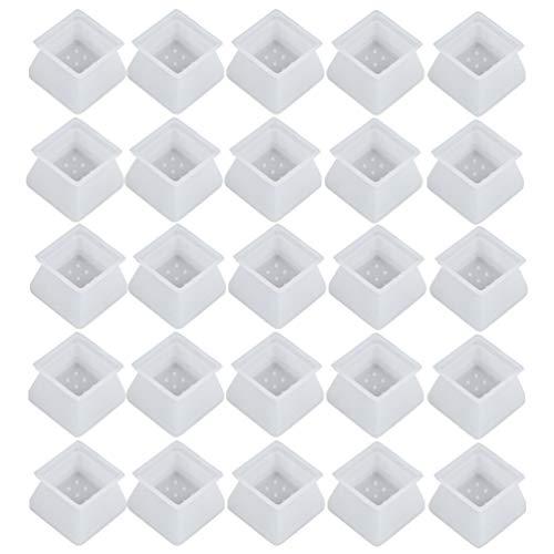 UKCOCO Fundas para Patas de Sillas- Fundas de Silicona para Patas Y Suelos Almohadillas para Patas Fundas para Sillas Alfombrillas para Mesa Fundas para Muebles 32 Unidades (Blanco)