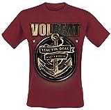 Volbeat Anchor Hombre Camiseta Rojo Oscuro XXL, 100% algodón, Regular