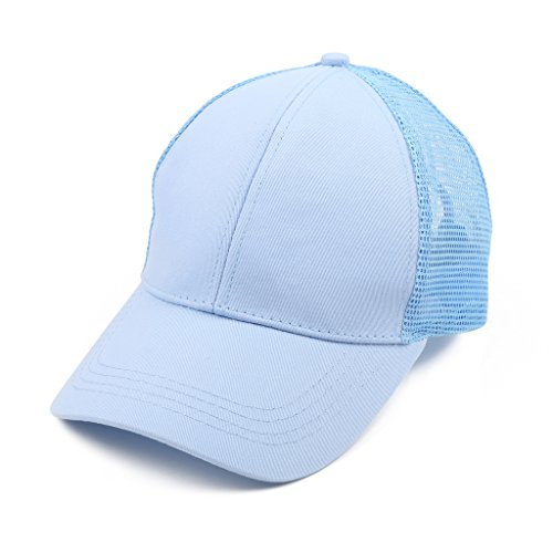 Bwiv Baseball Cap Damen Mesh Pferdeschwanz Baseball Hut Atmungsaktiv Sonnenhut Sonnenschutz Mädchen Kappe Schirmmütze Einheitsgröße Kopfumfang 52-61cm Blau