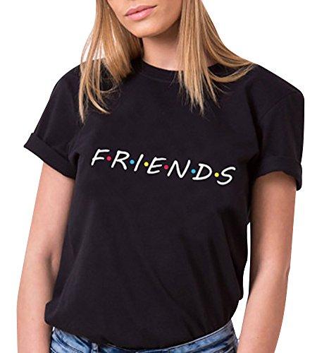 Tomwell Camiseta Mejor Amiga Shirt Best Friend Logo para Mujer 100% Algodón T-Shirt TV Impresión Fiends Blanco Básico Manga Corta Redondo Verano Elegante Regalo Negro ES 38