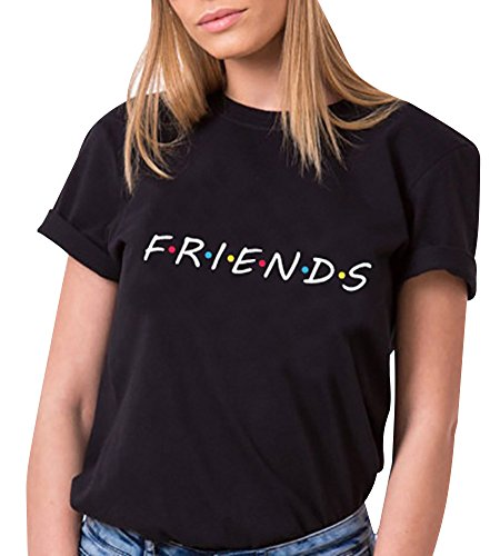Tomwell Mujer Verano Elegante Moda Redondo T-Shirt Friends Impresion Camisetas Manga Corta Tees Negro ES 40