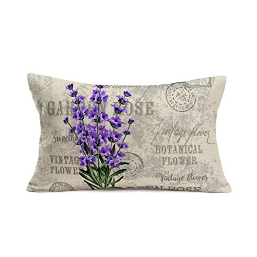 Fukeen Vintage Flower Lavender Throw Pillow Covers Decorative French Country Stamp with Violet Bouquet Pillow Cases Cotton Linen Burlap Lumbar Cushion Cover Rectangle 12x20 Inches, Grey Purple