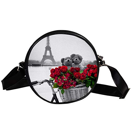 Bandolera redonda pequeña bolsa de mano de moda para mujer, bolsa de mensajero de lona, bolsa de cintura, accesorios para mujer, Torre Eiffel de París con bicicleta rosa