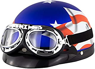 EDTara Unisex Bicycle Helmet Bike Riding Protective Strong Safety Half-face Helmet with Goggles Matte Blue Stars and Stripes One Size
