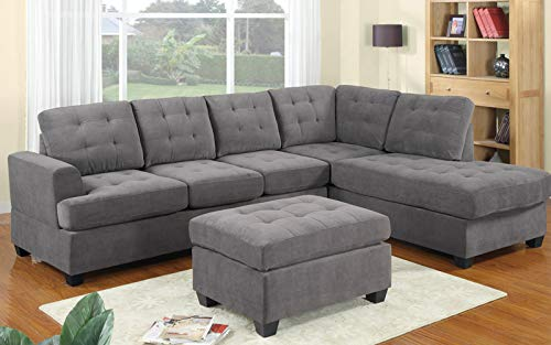 GHEDA L Shape Sectional Sofa 3 Piece Set, L Shaped Sleeper Couch Sofa, Large Modern 3 Seater Corner Sofa with Chaise Lounge, Storage Ottoman for Living Room(Grey) (Microfiber Facing Right Chaise)