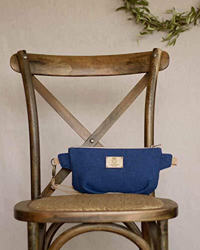 Gürteltasche, blaue Gürteltasche für natürliche Frau, Boho-Leinwandbeutel für einen Spaziergang im Park