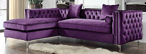 Iconic Home Da Vinci Velvet Modern Contemporary Button Tufted with Silver Nailhead Trim Silvertone Metal Y-leg Left Facing Sectional Sofa, Purple