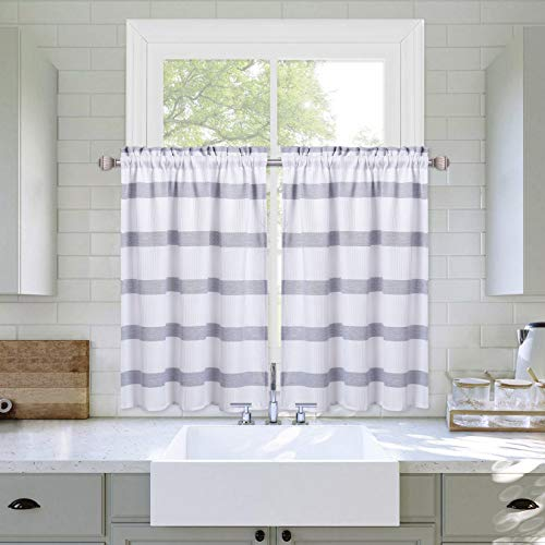 """Haperlare Striped Pattern Cafe Curtains, Tailored Waffle Weave Textured Bathroom Window Curtain Country Yarn Dyed Stripe Rod Pocket Half Window Kitchen Cafe Curtains, 30"""" W x 24"""" L, Navy, Set of 2"""