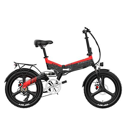 LANKELEISI G650 Bicicletta elettrica Pieghevole a 20 Pollici 400W 48V 14.5Ah Batteria 5 Pedali di Livello Assist Sospensioni Anteriori e Posteriori (Nero Rosso, 14.5Ah Standard)