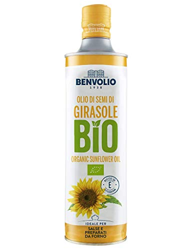 BENVOLIO 1938 aceite de semilla de girasol ecológico - 750ml - aceite comestible para cocinar y condimentar sabor sutil y delicado, rico en vitamina E.