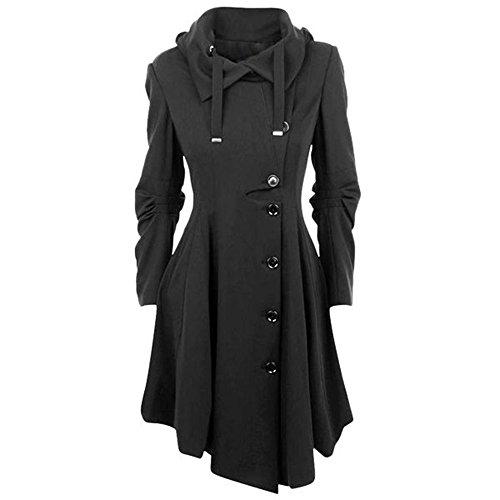 OEAK Damen Herbst Elegant Gothic Mäntel Kleider Trenchcoat Lang Parka mit Asymmetrisch Saum Jacke Windbreaker