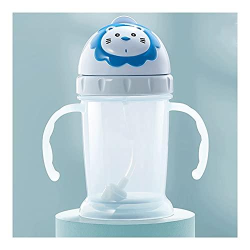 Cantimploras Y Botellas De AguaEl Bebé Aprende A Beber Tazas Tazas para Niños Tazas De Paja Tazas para Bebés con Asas Jarras para Beber Diseño A Prueba De Fugas (Color : Blue)
