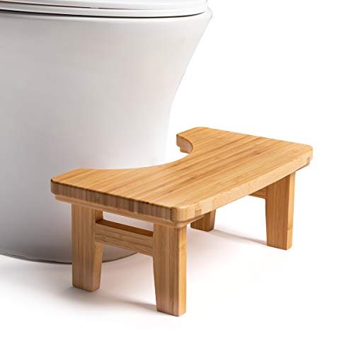 GOBAM Bathroom Toilet Stool, Bamboo Squatting Toilet Step Stool 6.7 Inch Height Proper Posture Simple Design for Kids Adults