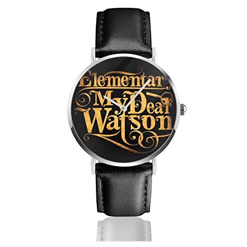 Unisex Business Casual Elementary My Dear Watson Sherlock Holmes Quarzuhr Lederarmband schwarz für Herren und Frauen Young Collection Geschenk