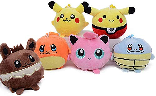MichPong 7Pcs /Pokemon Plush Stuffed Animal Toy Jigglypuff Eevee Charizard Soft Plush Doll Toy Pendant Sandbag for Gift 10Cm,Children's Birthday Gifts and Collectibles i HJPNIUBI