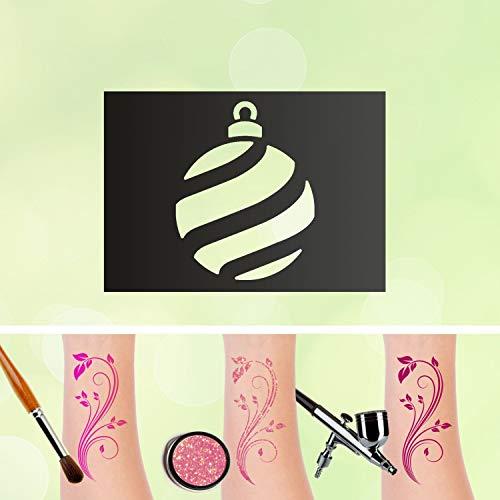Tattoo Schablone Weihnachtskugel Selbstklebend Kinder Schminken Airbrush Größe 10 Stk