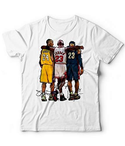 Camiseta de baloncesto genérica NBA Kobe Bryant Michael Jordan Lebron James Campeones baloncesto Leggenda 24 Bianco XL