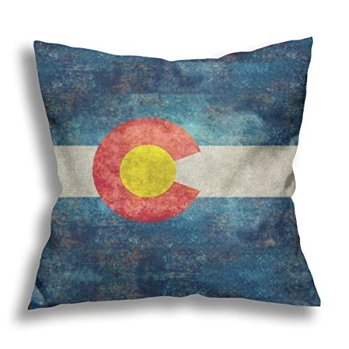 Colorado State Flag with Vintage Retro Flax Pillow Case Decorative Pillow Cushion Cover for Sofa Chair Bed Car Home Office Decor 45x45 cm