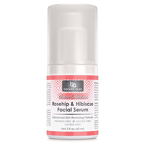 Beauty Aura Divine Collection Rosehip & Hibiscus Facial Serum 2 Fl (60 ml) - Contains Natural Anti-oxidants, DMAE, MSM and Vitamin A, B, & E for Better, Visible Radiant Results