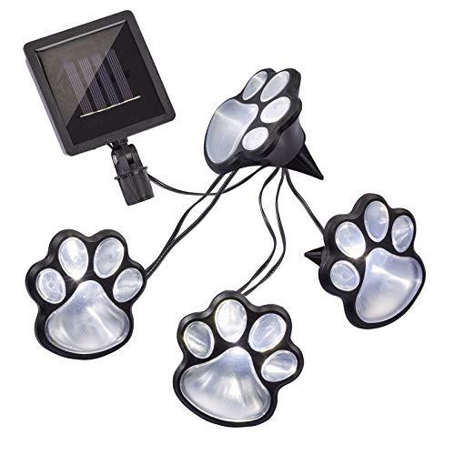 Hellum Solar-LED-Lichterkette, Hundepfoten, 4 weiße LEDs, 240 cm Lichtlänge, Kabel schwarz, Outdoor, solarbetrieben, Dekoration, 523690