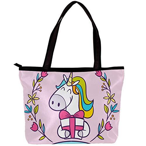 Vockgeng Bolso de mano de algodón suave para mujer Guirnalda de regalo de unicornio Bolso de hombro, bolso de gran capacidad con diseño impreso único 30x10.5x39cm