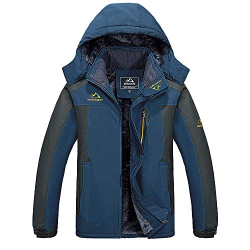 MAGCOMSEN Outdoorjacke Herren Gefüttert Softshelljacke Winter Fleece Jacke Outdoorjacke Männer Warme Skijacke Atmungsaktiv Windjacke mit Kapuze Dunkelblau 3XL