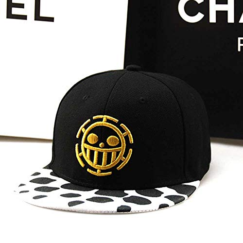 Yunbai Männer Hut Frauen Hut Cotton Cap Lässige Mütze Visier justierbare Kappe Sportmütze, Anime One Piece Hut Baseballmütze Trafalgar Law Mützen Cosplay Kappen for Frauen Männer Hip Hop-Snapback Caps