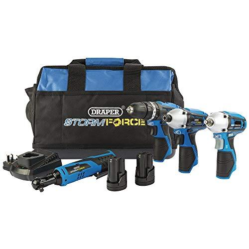 Draper 93446 Storm Force 10.8V Interchange 4 Piece Kit (+2 x 1.5Ah Batteries, Charger and Bag)