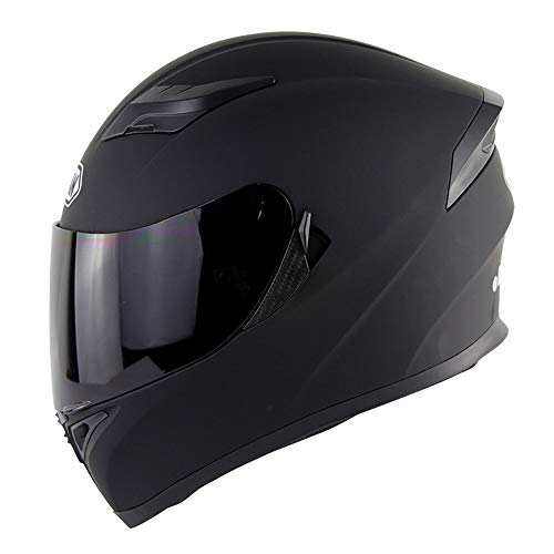 Casco Moto Integrale Casco Enduro Sportivo Casco MX Motocross retrò D.O.T Doppia Visiera certificata Fly Racing Casco turistico MX Color Lens,Black,XL