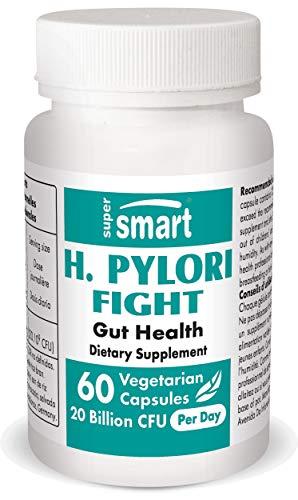 Supersmart - H. Pylori Fight 20 Billion CFU Per Day - Contains Lactobacillus Reuteri (probiotic) - Relieves Acid Lifts & Stomach Aches | Non-GMO & Gluten Free - 60 Vegetarian Capsules