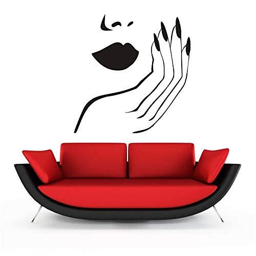 Stickers Muraux Nail Salon Sexy Lip Mode Femme Visage Salon Vernis Polonais Manucure Pour Chambre Salon De Beauté Décoration De La Maison