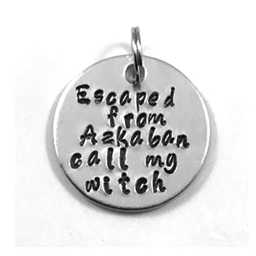 Pet Collar ID Tag Hand Stamped I Escaped From Azkaban Call My Witch