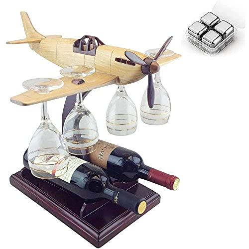 ESGT Helicóptero Vidrio y Soporte de Botellas, Pistola de avión Decantador de Whisky, Puede Contener 4 Copas y 2 Botellas de Vino Tinto, Excelentes Regalos para Anyon