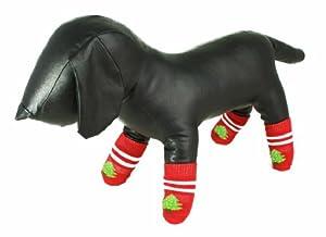 Festive Productions Arbre de noël Chaussettes pour chien/chat en coton Semelle Antidérapante en caoutchouc Imprimé pattes pour les petites races de chiens