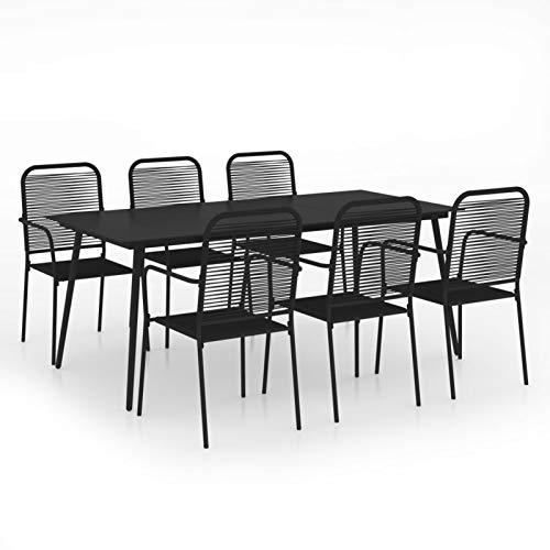 Kshzmoto 7 Partes Juego de Comedor de jardín Grupo de Asientos Muebles de jardín Mesa de jardín Juego de jardín Muebles de balcón Cuerda de algodón y Acero Negro - Mesa 190 x 90 x 74 cm