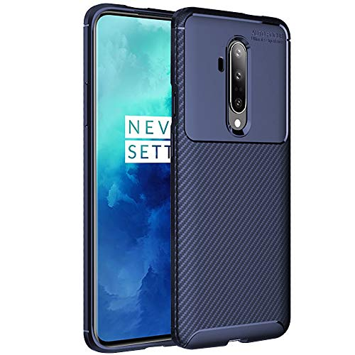 TheGiftKart Rugged Shockproof Carbon Fibre Slim Armour Back Cover Case for OnePlus 7T Pro (Navy Blue)