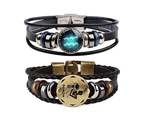 Retro 2pcs 12 Zodiac Constellation Beaded Hand Woven Leather Bracelet Braided Punk Chain Cuff (Aquarius)