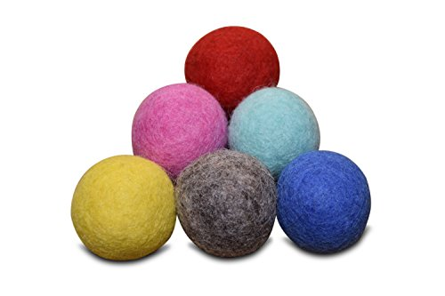 Comfy Pet Supplies Set of 6-100% Wool Felt Ball Toys for Cats and Kittens, Handmade Colorful Eco-Friendly Cat Wool Balls (4cm, Gray Mint Blue Red Pink Yellow)