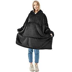 Comfortable Sweater Hoodie Wearable Blanke with Giant Pocket Suitable for Boys Girls Teens College Students Grey Kids Oversized Blanket Sweatshirt Soft Warm